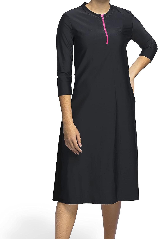 Woman Modest Tznius 3/4 Sleeve Athletic Swimdress, Beach Cover up UPF 50+ Sun Protection