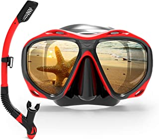 COPOZZ Scuba Mask, Snorkeling Dive Glasses, Free Diving Tempered Glass Goggles - Optional Dry Snorkel with Comfortable Mou...