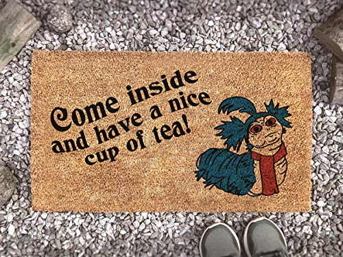 Labyrinth Film Worm Cup of Tea Quote Doormat - Fandom Funny Gift Non Slip and Washable Door Mat