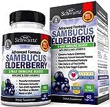 Sambucus Elderberry Capsules with Zinc & Vitamin C - Women & Men's Daily Herbal Supplement for...