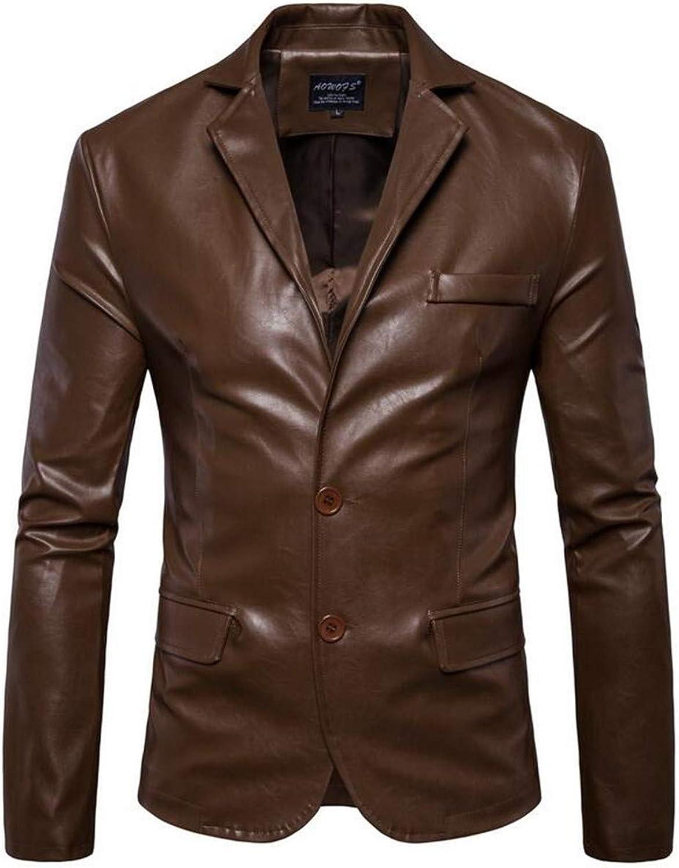 0a5f2959448681 BU2H Men Slim Fit Two Button PU Leather Business Dress Dress Dress Suit  Blazer Jacket 9a538b
