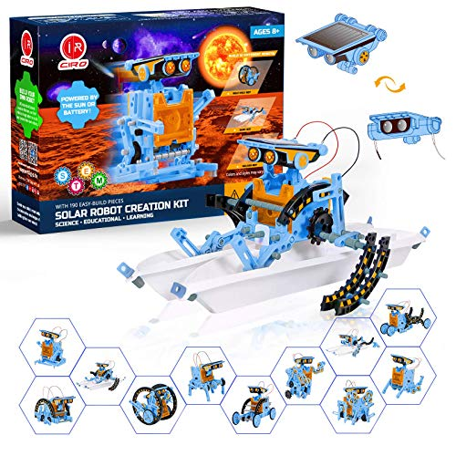 CIRO 12 in 1 STEM Solar Robot Kit,Solar and Cell Powered DIY Educational Learning Science Building Toys for Kids Aged 8-12