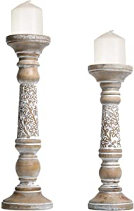 NIKKY HOME Farmhouse Candle Holder Set of 2 - Decorative Wood Pillar Candle Stand, Mantle Home Decor Centerpieces for Fireplace, Living or Dining Room Table, Distressed White