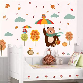Wangxiaojie Lovely Bear Owlets Tree Wall Stickers Kids Bedroom Home Decoration Cartoon Pvc Decals Diy Owls Mural Art Child...