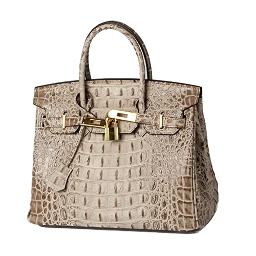 ec564680ea89 Lalagen Women s Crocodile Embossed Clearance Genuine Leather Top Handle  Padlock Purses and Handbags
