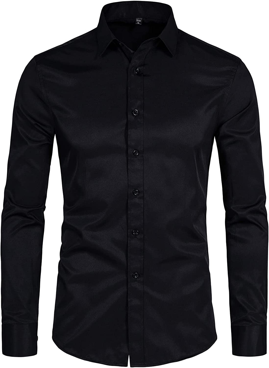 DELCARINO Men's Long Sleeve Button Up Shirts Solid Slim Fit Casual Business Formal Dress Shirt