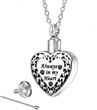 Urn Necklace for Ashes Stainless Steel Paw Print Engraved Always in My Heart Cremation Urns Keepsake Memorial Necklace