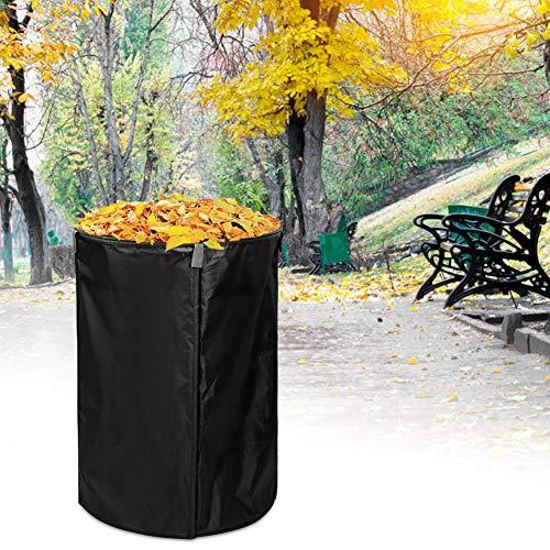 Nannday Práctica Bolsa de jardín plegada, Bolsa de Almacenamiento de Ropa Liviana, Bolsa de Hojas de césped, Impermeable para el(Black, Diameter 45 * 71cm in Height)