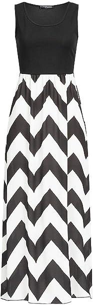 Styleboom Fashion Damen Kleid 2 Tone Maxi Dress Zig Zag Print Longform Sommerkleid Schwarz Weiss Gr S Amazon De Bekleidung