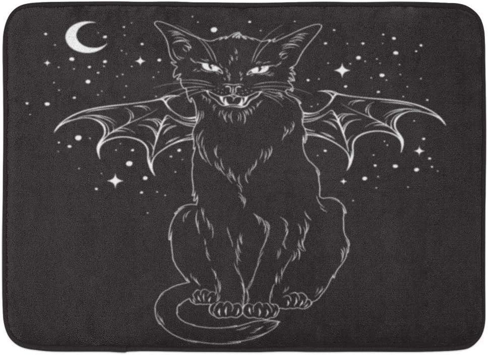 Alfombrillas Alfombras de ba/ño Alfombrilla para Exteriores//Interiores Espeluznante Gato Negro Alas de Monstruo sobre el Cielo Nocturno Luna y Estrellas Esp/íritu Familiar Wiccan Esp/íritu pagano de H