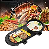 2 in 1 Hot Pot Electric Skillet Aluminum Alloy Smokeless BBQ Teppanyaki Grill Pan with Hot Pot Multifunctional Pan Electric Grill (US Plug 110V)