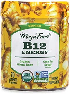 MegaFood, Certified Organic B12 Energy Ginger Gummies, Soft Chew Vitamin B12 Supplement for Cellular Energy Support, Vegan...