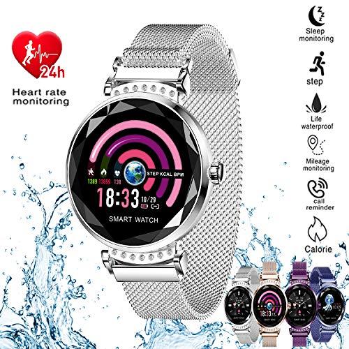 H2 Smart Watch Blood Pressure Heart Rate Monitor Sport Waterproof Bracelet New Fitness Tracker (Silver)