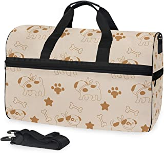 Travel Tote Luggage Weekender Duffle Bag, Cartoon Dog And Bones Large Canvas shoulder bag with Shoe Compartment