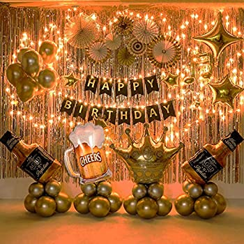Birthday Party Decoration Gold Background Balloons Set Party Supplies With String Light - Perfect for Men and Women Birthday