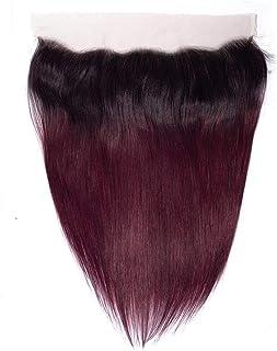 Yrattary 13×4ディープフリーパートストレートレース閉鎖ブラジル人間の髪の毛の閉鎖1B / 99J 2トーンナチュラル探して短いかつらかつら (色 : ワインレッド, サイズ : 18 inch)