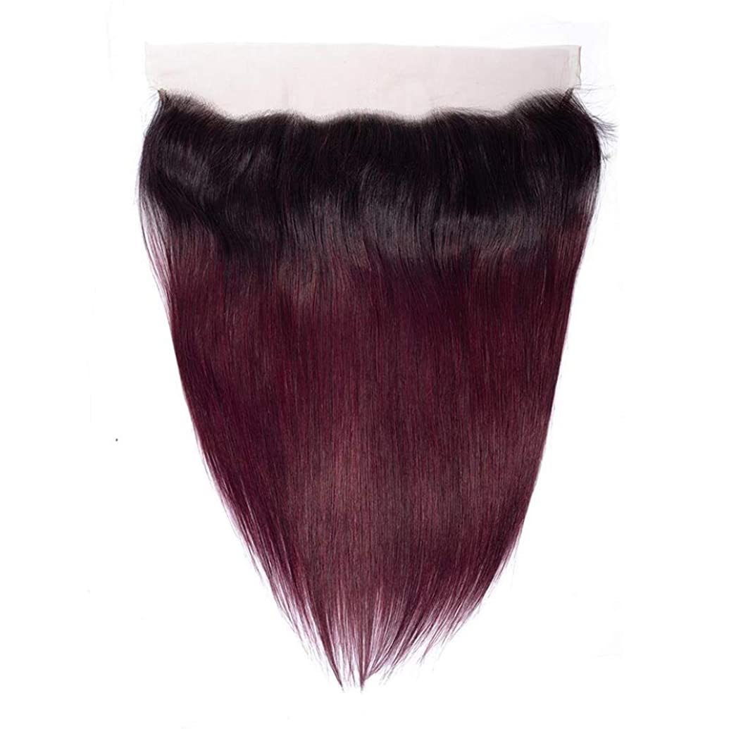 ローズコイン実行するYrattary 13×4ディープフリーパートストレートレース閉鎖ブラジル人間の髪の毛の閉鎖1B / 99J 2トーンナチュラル探して短いかつらかつら (色 : ワインレッド, サイズ : 18 inch)