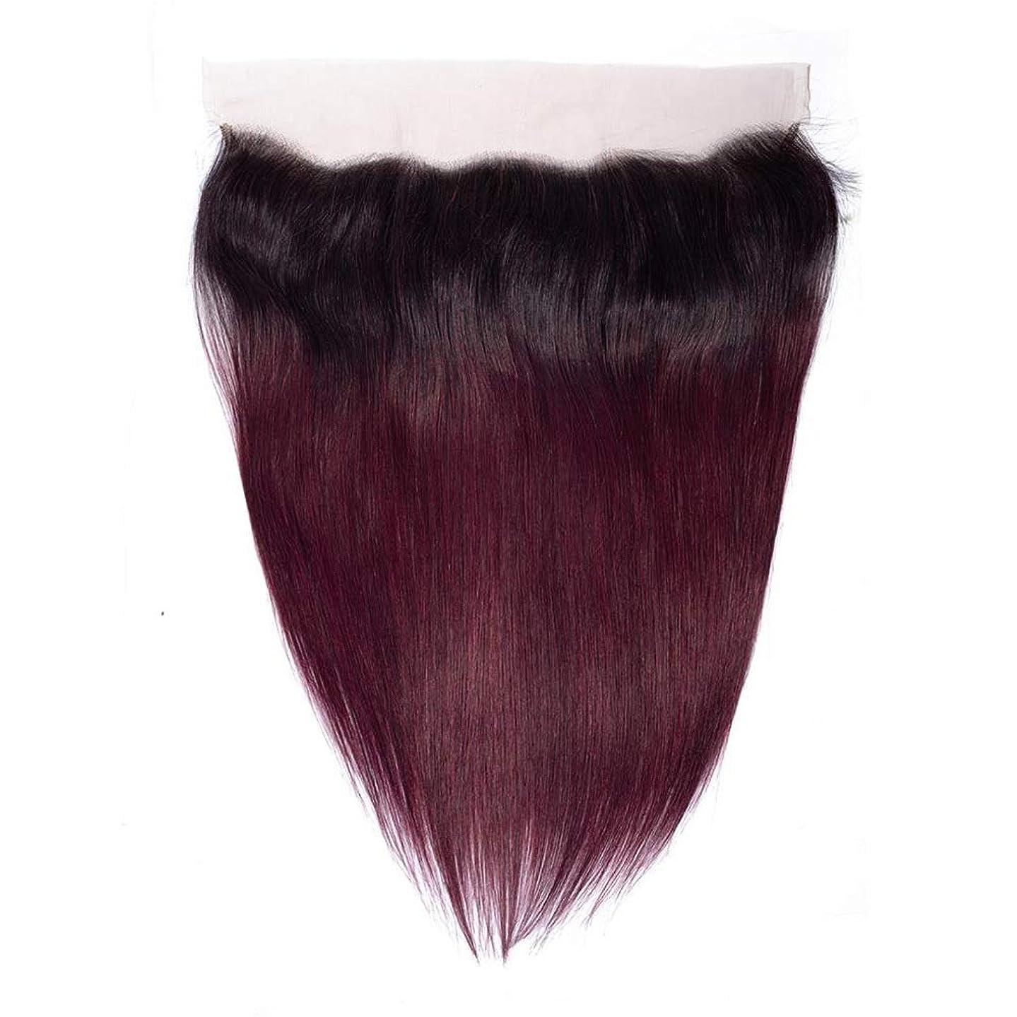 援助する焦がすバランスのとれたYESONEEP 13×4ディープフリーパートストレートレース閉鎖ブラジル人間の髪の毛の閉鎖1B / 99J 2トーンナチュラル探して短いかつらかつら (色 : ワインレッド, サイズ : 12 inch)
