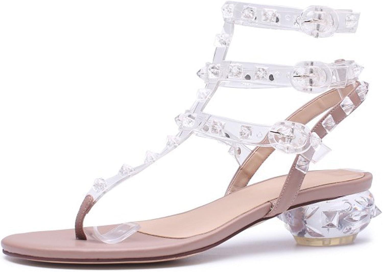 DANDANDANJIE kvinnor Sandaler Clip Toe Flat Heel skor Holiday Rivets Rivets Rivets med Grova Bohemian Crystal Heel Sandals  förstklassiga kvalitet först