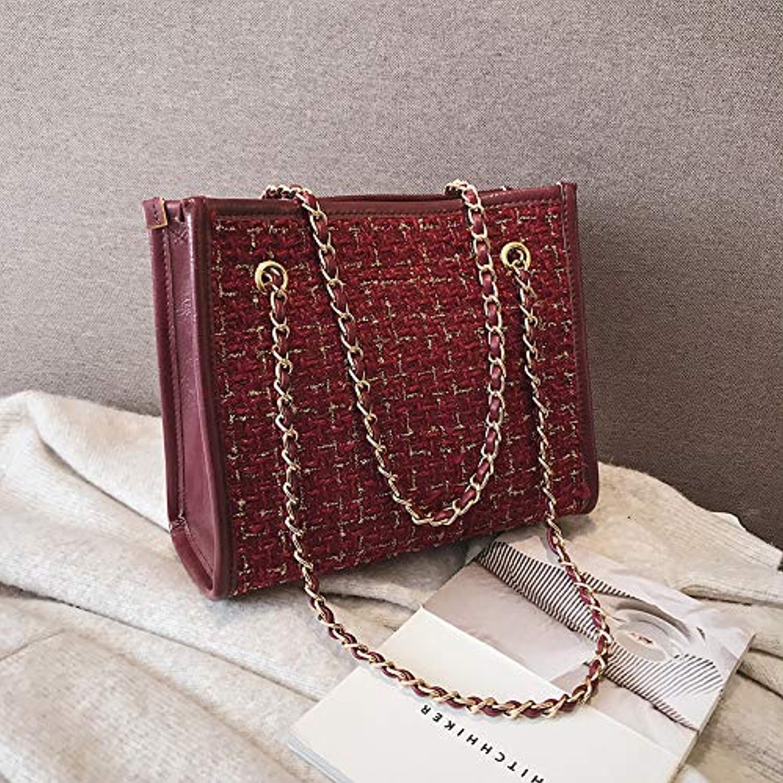 H-M-STUDIO Bag in Autumn and Winter New Baitao Fashion Chain Korean Version Large Capacity Slant Bag Claret 24  21  11Cm