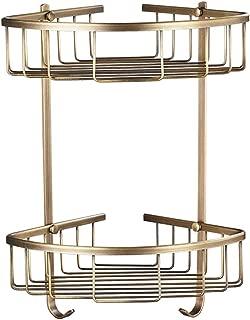 Rozin Dual-Tier Bathroom Kitchen Corner Shelf Shower Caddy Holder Antique Brass