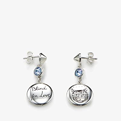 Gucci Blind for Love Gato Earrings (Silver/Blue) Earring