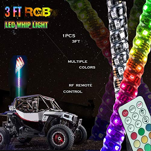 3FT Dancing LED Whip Lights w/Flag 360° Twisted for Offroad Jeep Polaris RZR UTV ATV Sand Dune Buggy Quad Truck Boat (Pack of one)