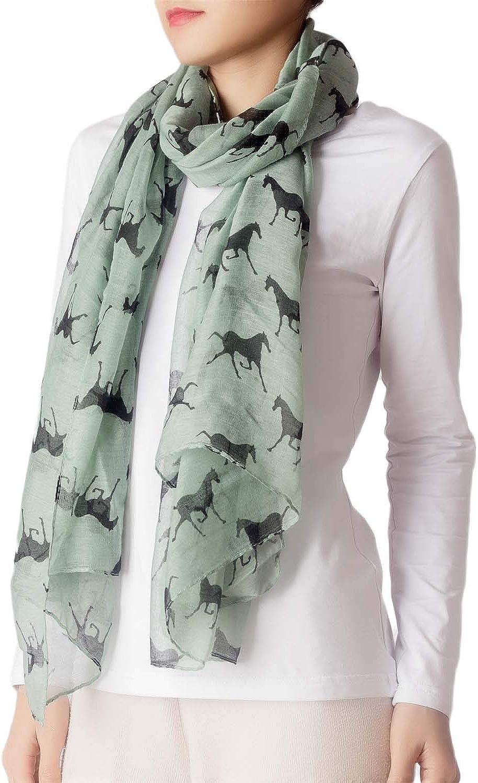 iB-iP Womens Black Horse Pony Printing Gorgeous Lightweight Long Fashion Scarf