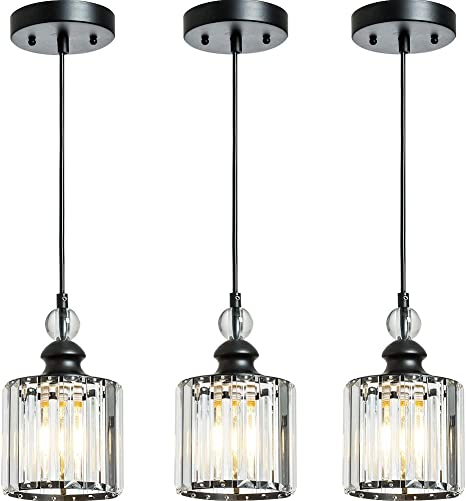Berliget 3 Packs Industrial Black Mini Glam Crystal Pendant Lights For Kitchen Island Hanging Pendant Lighting Fixtures With Hand Crafted Glass Strip For Bar Cafe Dining Room Indoor Restaurant Amazon Com
