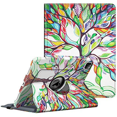 Fintie Case with Built-in Pencil Holder for iPad Pro 11' 2020 & 2018 [Support 2nd Gen Pencil Charging Mode] - 360 Degree Rotating Stand Protective Cover with Auto Sleep/Wake, Love Tree