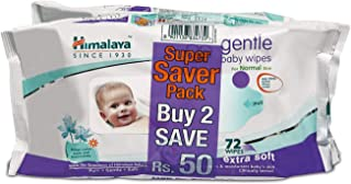 Himalaya Babycare Gentle Baby Wipes (Pack of 2x72 Wipes)