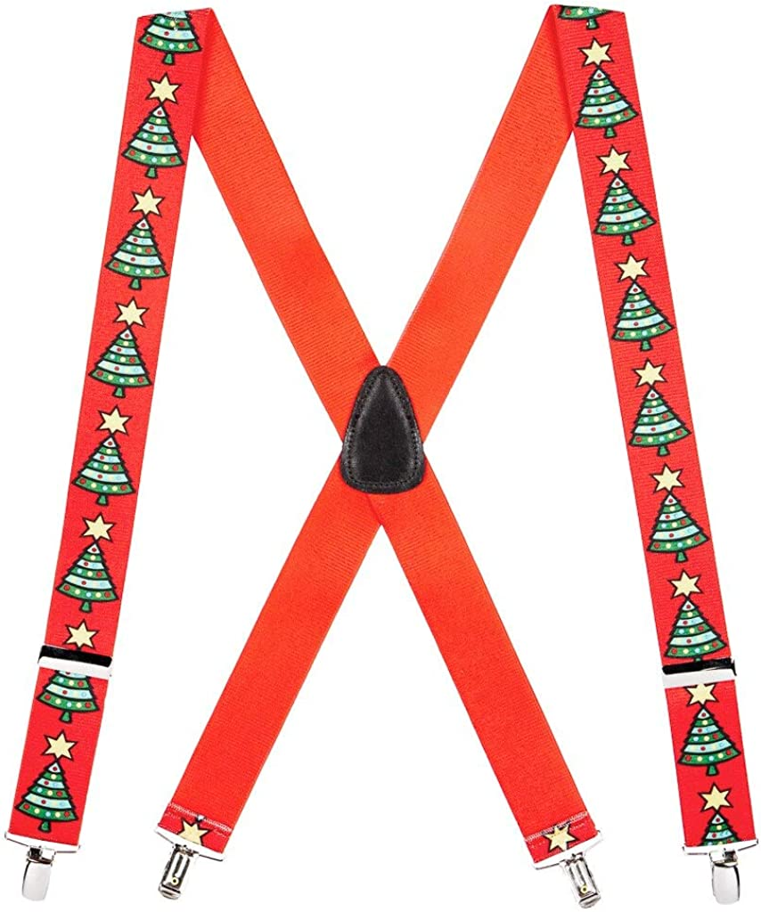 SuspenderStore Men's Christmas Tree Clip-End Holiday Suspenders (4 Sizes)