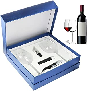 Zalik Wine Glasses Gift Set – Set Of 2 Wine Glasses, Wine Opener, Wine Stopper And Wine Aerator Pourer For Enhanced Flavor – Perfect Gift For Every Occasion - Wine Accessories - Elegant Gift Box