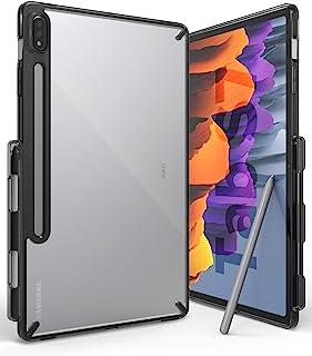 【Ringke】 Galaxy Tab S7 ケース タブレットケース S ペンホルダー付き 軽量 薄型 ストラップホール [米軍MIL規格取得] 透明 落下防止 カバー クリア サムスン Fusion (Smoke Black スモークブラック)