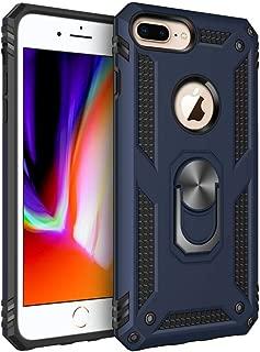 iPhone 7 Plusケース/iPhone 8 Plusケース 落下衝撃吸収 TPU PC二重構造 米国軍事MIL標準取得 スマートフォンケース耐衝撃性 360度リング 車載ホルダー対応 (ブルー)