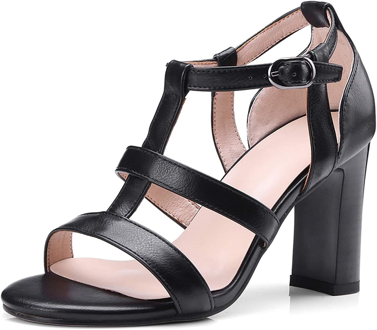 T-Strap Woman shoes Woman Sandals Square high Heels Leisure Summer Sandal