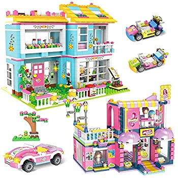 1655 Pieces Friends House Building Blocks Set Hair Salon Creative Toy Building Kit for Kids Best Learning and Roleplay STEM Construction Toy Gifts with Storage Box for Girls 6-12