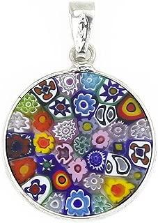 Murano Glass Millefiori Pendant Necklace Multicolor in Silver Frame 3/4