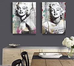 Kecoci Diamond Drawing 2 Panel Sexy Marilyn Monroe Black and White Living Room 50x60cmx2pcs