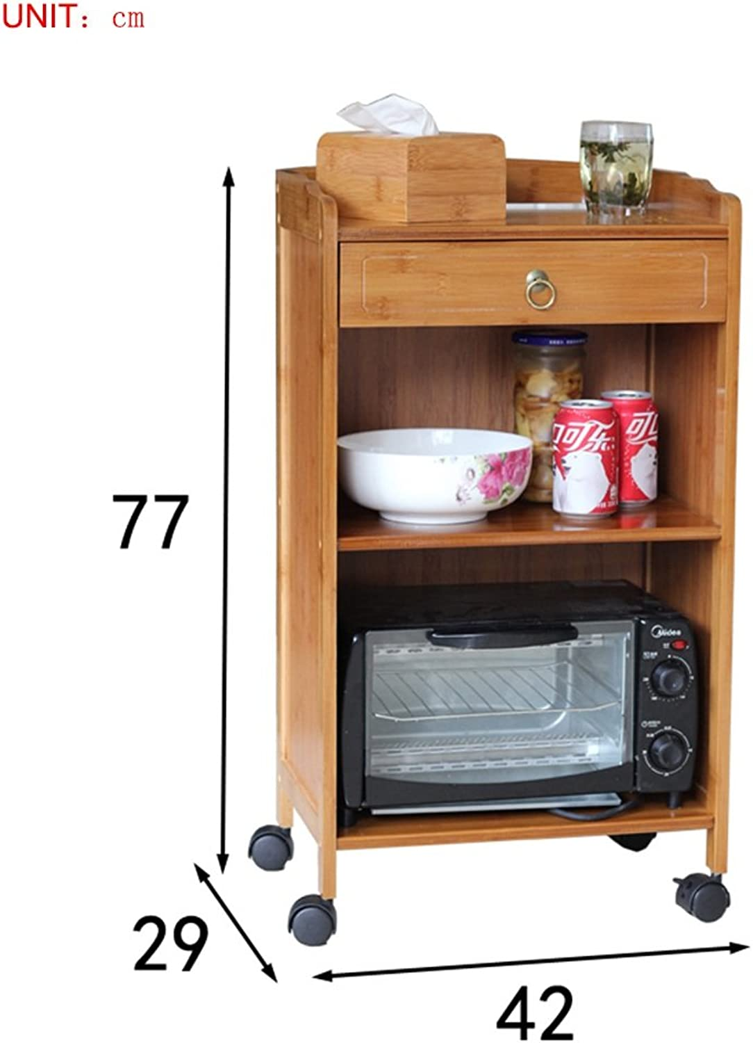 Storage Rack- Storage Cabinet,Multilayer Bamboo Bathroom Kitchen Living Room Storage Cabinet with Wheel -by TIANTA (Size   Three layers-42cm)
