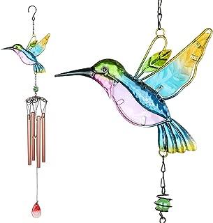 PROMISE YO Hummingbird Wind Chimes, Outdoor Windchimes Indoor Stained Glass Wind Chime Metal Hummingbird Suncatcher for Window, Home, Garden, Yard, Patio, Lawn Decoration (Hummingbird Pink Tube)