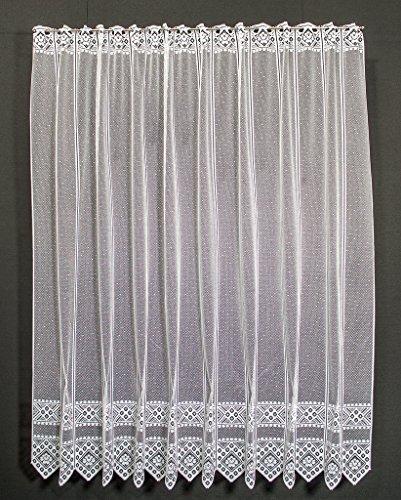 Tenda della finestra fiore modello altezza 180 cm | Può scegliere la larghezza in segmenti da 21 cm, come vuole | Colore: Bianco | Tendine cucina