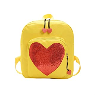 Backpack New Schoolboy Bag, Colorful Peach Heart Children's Backpack, Cute Out-of-Street Travel Wear-Resistant Small Backpack 24 x 27 x 9cm Blue (Color : Yellow, Size : 24 x 27 x 9cm)