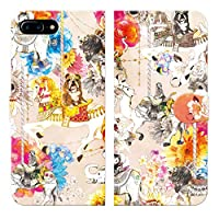 ブレインズ iPhone8Plus 7Plus 6sPlus 6Plus 手帳型 ケース カバー メリーゴーランド ピンク NoA 遊園地 ブルテリア ゾウ ライオン ラクダ