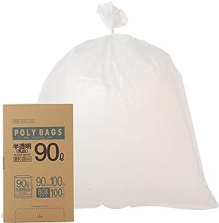 オルディ ごみ袋 厚くて 破れにくい 乳白 半透明 90L 横90×縦100cm 厚み0.05mm 厚手で丈夫な 低密度ポリエチレン製の ビニール袋 PBB-W90-100 100枚入