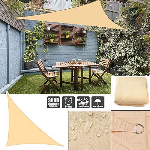 Toldo para el sol, impermeable, triángulo, toldo para jardín, playa, patio, beige, 5*5*7.1m