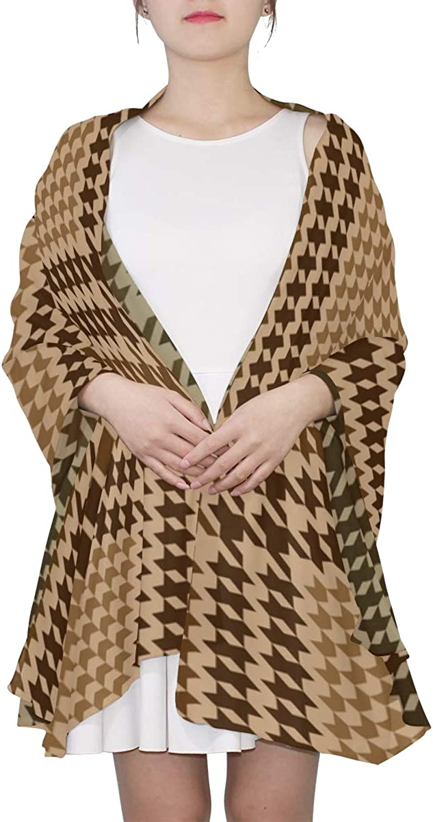 Beautiful Brown Lattices Unique Fashion Scarf For Women Lightweight Fashion Fall Winter Print Scarves Shawl Wraps Gifts For Early Spring