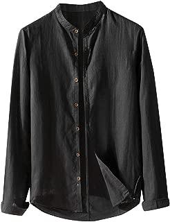 Gergeos Men's Cotton Linen Shirts Long Sleeve Loose Stand Collar Casual Button Down T-Shirt Dress Shirt