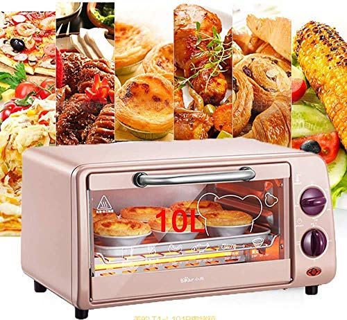 Pliuyb Electric oven, 10l Multi-Function Electric Oven, Home Baking Small Roaster, Temperature Control Mini Cake Oven,Time and Temperature Can Be Controlled,Best Gift,Black,Pink (Color : 220v),Colour: