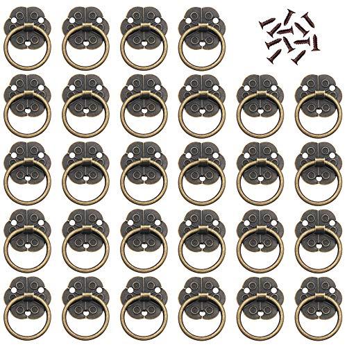 Ceqiny - Set di 30 pomelli per anelli in stile vintage, per armadietti, cassetti in ottone anticato, mini anello con viti, maniglia per porta, anello di ricambio in bronzo